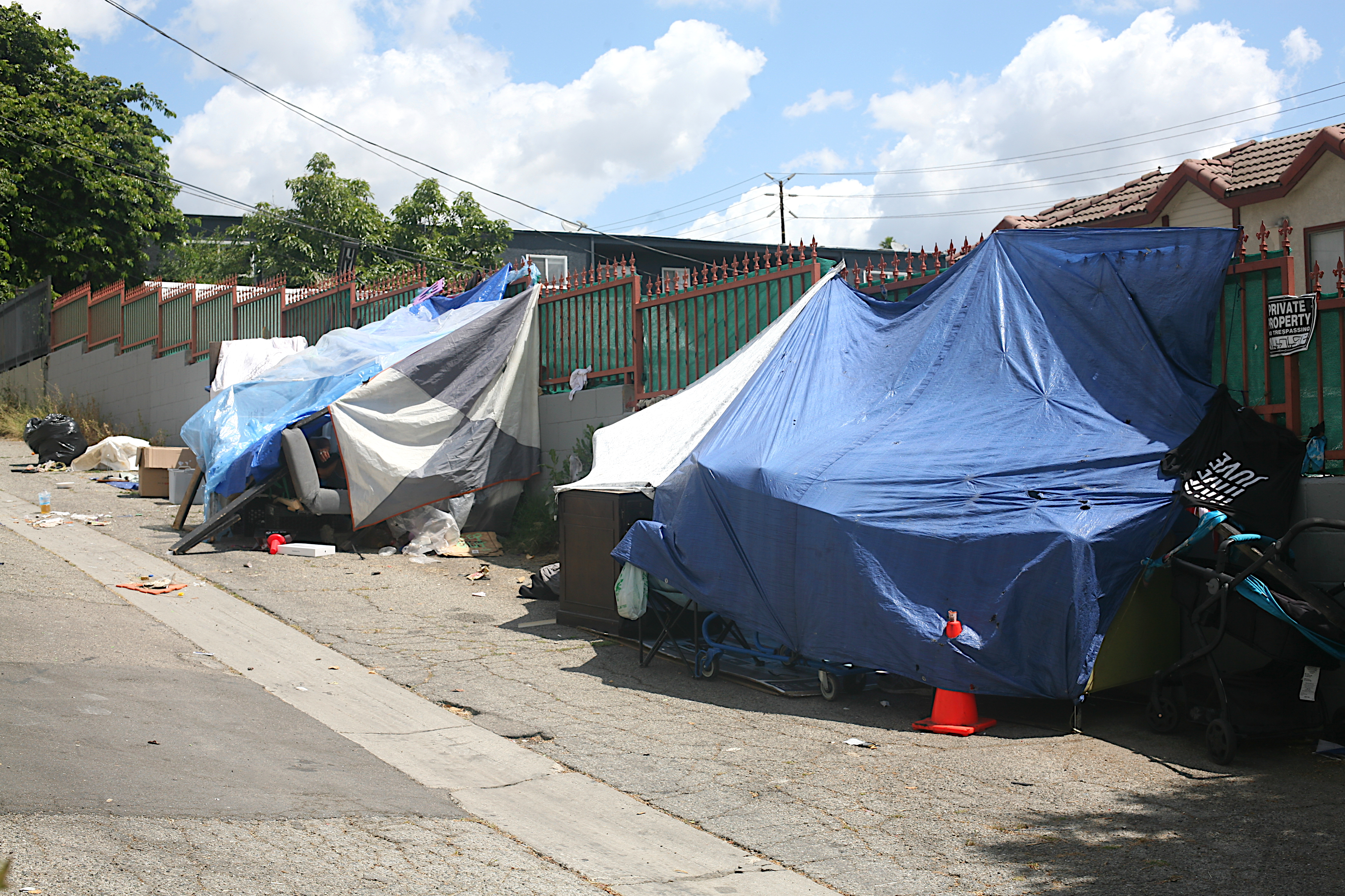 A homeless encampment in East Hollwood, Los Angeles