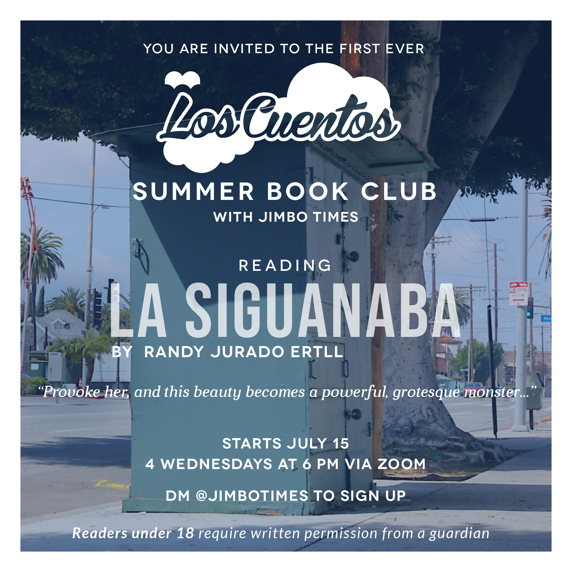The official flyer for the first ever Los Cuentos Summer Book Club